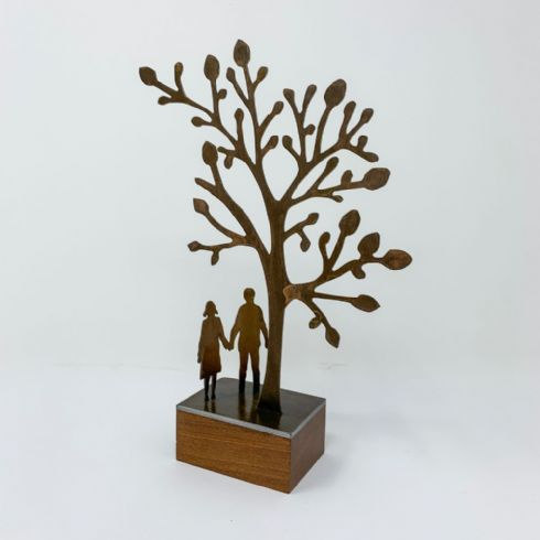 in klöver | ni design - David Mayne - 'Tree Gazing Couple' Steel & Wood Sculpture